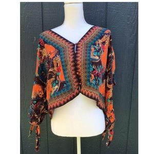 Free People Bohemian Crop Long Sleeve Top Medium